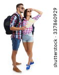 a pair of happy tourists... | Shutterstock . vector #337860929