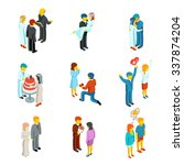 isometric 3d relationship and... | Shutterstock .eps vector #337874204