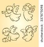 Cute Angels Set Sketch