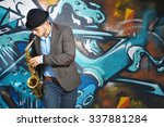Saxophone Player On Graffiti...