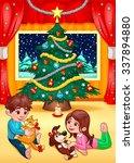 christmas scene with children... | Shutterstock .eps vector #337894880