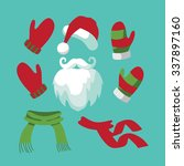 a collection of fun santa hat ... | Shutterstock .eps vector #337897160