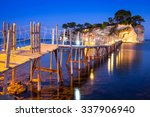 hanging bridge to the island at ... | Shutterstock . vector #337906940