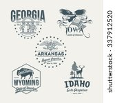 stylized emblems of the states... | Shutterstock .eps vector #337912520