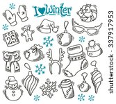 winter set with sketch holidays ... | Shutterstock .eps vector #337917953