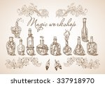 set of different bottles and... | Shutterstock .eps vector #337918970