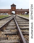 Small photo of classic historical view of Auschwitz death camp in color