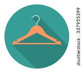 Stock vector vectpr round flat icon with orange clothes hanger eps 337955399