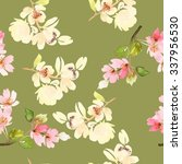 seamless pattern with flowers... | Shutterstock . vector #337956530