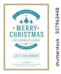 christmas party poster retro... | Shutterstock .eps vector #337963448