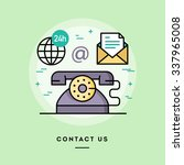 contact us  line flat design... | Shutterstock .eps vector #337965008