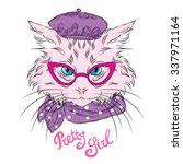 cat with glasses. vector... | Shutterstock .eps vector #337971164