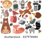 Stock vector woodland animals and cute forest design elements 337978484