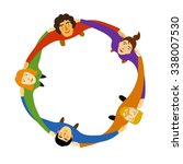 group of young people in circle ... | Shutterstock .eps vector #338007530