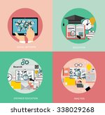flat study backgrounds set.... | Shutterstock .eps vector #338029268