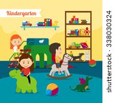 kindergarten. children playing... | Shutterstock .eps vector #338030324