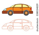 cartoon orange saloon car for... | Shutterstock .eps vector #338034839