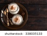 served creamy rice pudding with ...   Shutterstock . vector #338035133