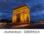 paris arc de triomphe at night  ... | Shutterstock . vector #338059214