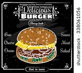 delicious burger wonderful... | Shutterstock .eps vector #338061056