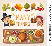 colorful thanksgiving day... | Shutterstock .eps vector #338064860