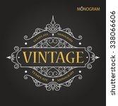 vintage vector monogram. chalk. ... | Shutterstock .eps vector #338066606