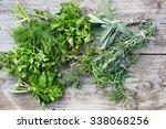 fresh herbs  thyme  tarragon ... | Shutterstock . vector #338068256