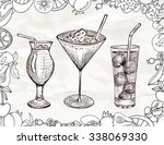 hand drawn set of alcoholic... | Shutterstock .eps vector #338069330