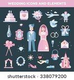 set of flat design wedding and... | Shutterstock . vector #338079200