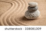 Stock photo japanese zen stone garden relaxation meditation simplicity and balance concept panorama of 338081309