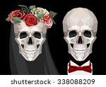 Vector Two Newlywed Skulls With ...
