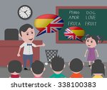 girl talking to bilingual... | Shutterstock .eps vector #338100383
