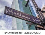 street sign of madison avenue... | Shutterstock . vector #338109230