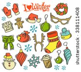winter set with sketch holidays ... | Shutterstock .eps vector #338111408