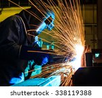 welder movement industrial... | Shutterstock . vector #338119388