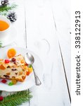 christmas sweet pie with curd... | Shutterstock . vector #338122913