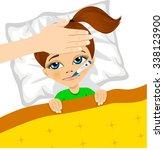 illustration of little girl ill ...   Shutterstock .eps vector #338123900