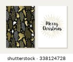 merry christmas card template... | Shutterstock .eps vector #338124728