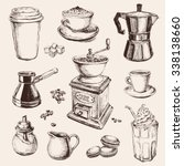 hand drawn set coffee vector... | Shutterstock .eps vector #338138660