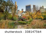 central park in autumn with... | Shutterstock . vector #338147564