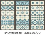 18 classic seamless patchwork... | Shutterstock .eps vector #338160770