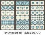 18 classic seamless patchwork... | Shutterstock .eps vector #338160770