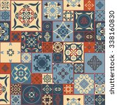 tile pattern from retro blue... | Shutterstock .eps vector #338160830