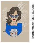 girl in glasses with dark hair... | Shutterstock .eps vector #338160908