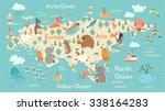 animals world map  eurasia.... | Shutterstock .eps vector #338164283
