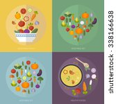 vector set vegetables with flat ... | Shutterstock .eps vector #338166638