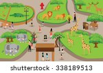 zoo cartoon people family with... | Shutterstock .eps vector #338189513
