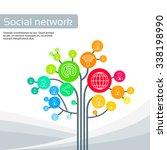 technology tree social media... | Shutterstock .eps vector #338198990