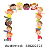 group of kids and banner | Shutterstock .eps vector #338202923