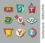retro signs alphabet. letters... | Shutterstock .eps vector #338212940